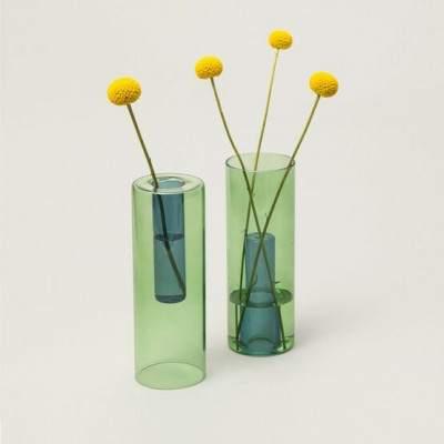 Vase en verre réversible L vert / bleu - Maison James Close à Antibes