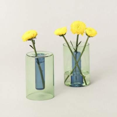 vase en verre réversible S vert / bleu - Maison James Close à Antibes