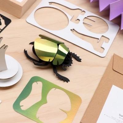 Scarabée Vert en Papier à Assembler