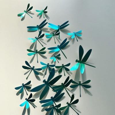 Ensemble de Libellules Bleues en Papier