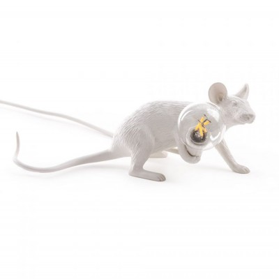 Mouse Lamp Couchée Blanche